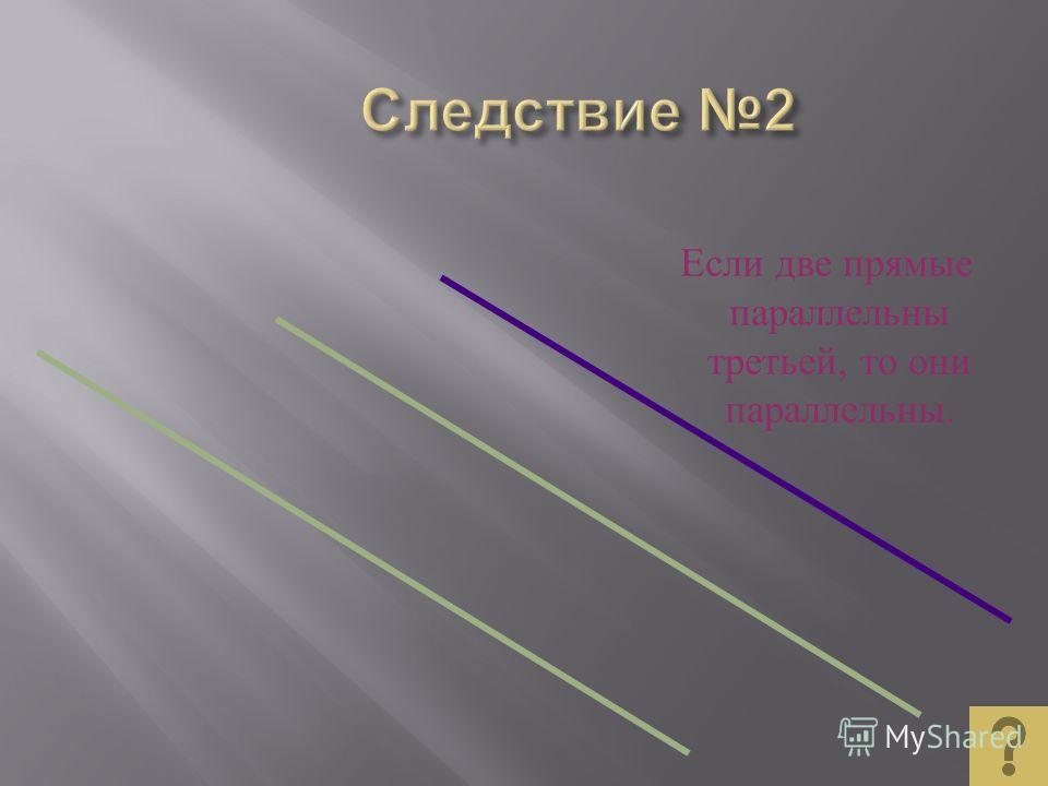 Если прямая пересекает одну из двух параллельных прямых, то она пересекает и другую. a b