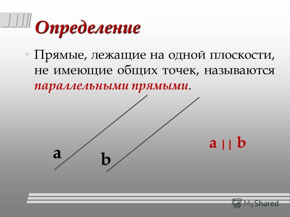 Определение Прямые, лежащие на одной плоскости, не имеющие общих точек, называются параллельными прямыми. а а || b b