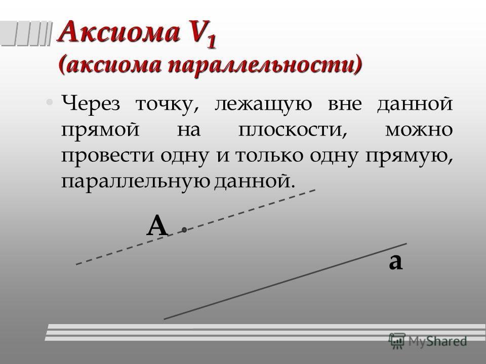 Аксиома V 1 (аксиома параллельности) Через точку, лежащую вне данной прямой на плоскости, можно провести одну и только одну прямую, параллельную данной. а А