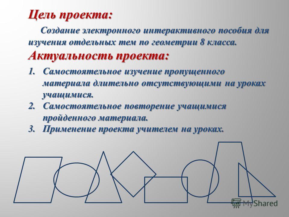 Цель проекта: Создание электронного интерактивного пособия для Создание электронного интерактивного пособия для изучения отдельных тем по геометрии 8 класса. Актуальность проекта: 1.Самостоятельное изучение пропущенного материала длительно отсутствую