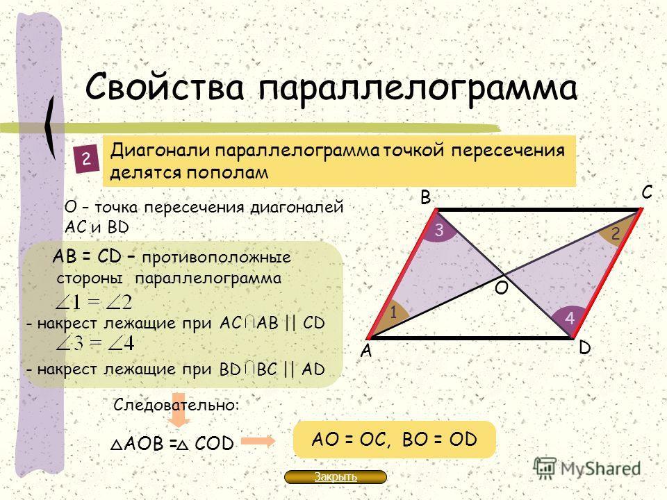 Свойства параллелограмма Диагонали параллелограмма точкой пересечения делятся пополам D А В С АВ = СD – противоположные стороны параллелограмма О – точка пересечения диагоналей АС и BD 2 1 2 3 4 - накрест лежащие при АС АB || СD - накрест лежащие при