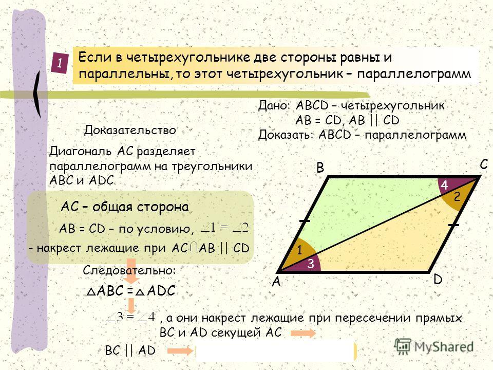 Если в четырехугольнике две стороны равны и параллельны, то этот четырехугольник – параллелограмм D А В С АС – общая сторона Дано: АВСD – четырехугольник AB = CD, AB || CD Доказать: АВСD – параллелограмм 1 1 2 3 4 - накрест лежащие при АС АB || СD, а