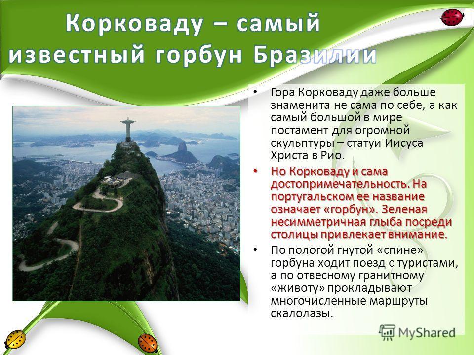 Гора Корковаду даже больше знаменита не сама по себе, а как самый большой в мире постамент для огромной скульптуры – статуи Иисуса Христа в Рио. Но Корковаду и сама достопримечательность. На португальском ее название означает «горбун». Зеленая несимм