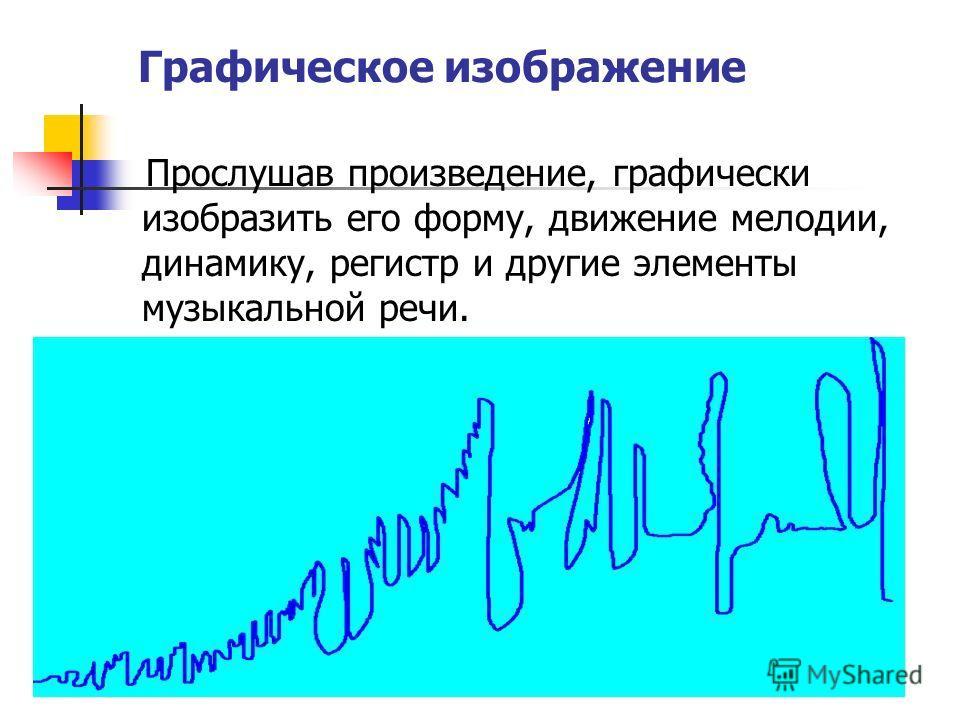 Графическое изображение Прослушав произведение, графически изобразить его форму, движение мелодии, динамику, регистр и другие элементы музыкальной речи.