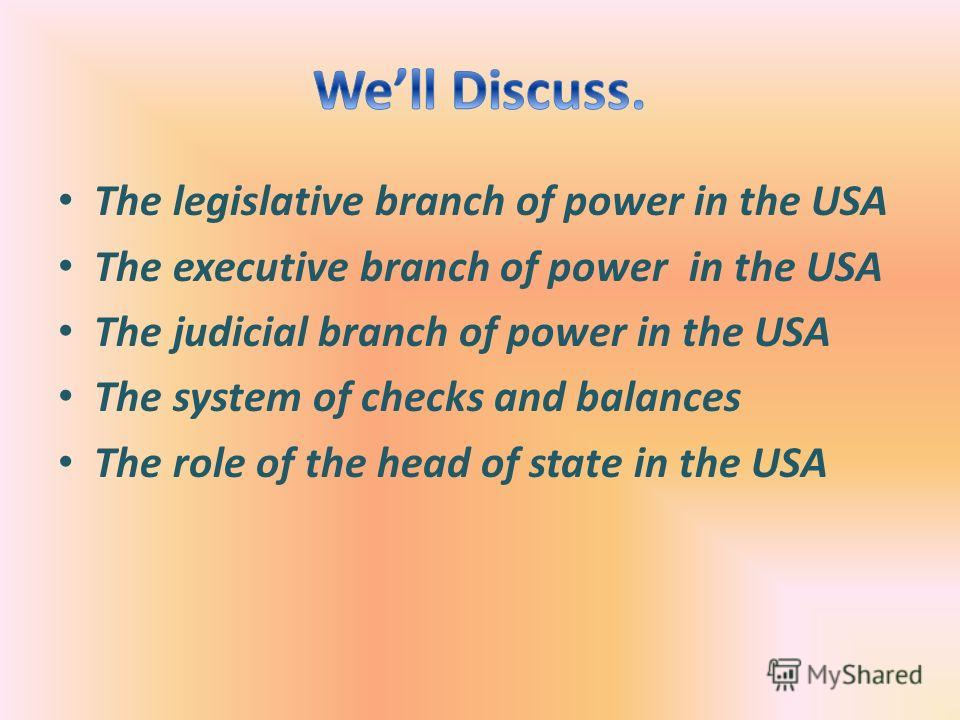 The legislative branch of power in the USA The executive branch of power in the USA The judicial branch of power in the USA The system of checks and balances The role of the head of state in the USA