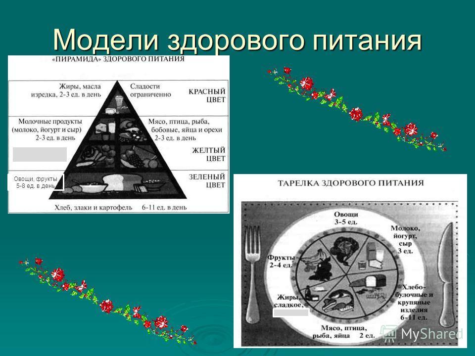 Модели здорового питания Овощи, фрукты 5-8 ед. в день