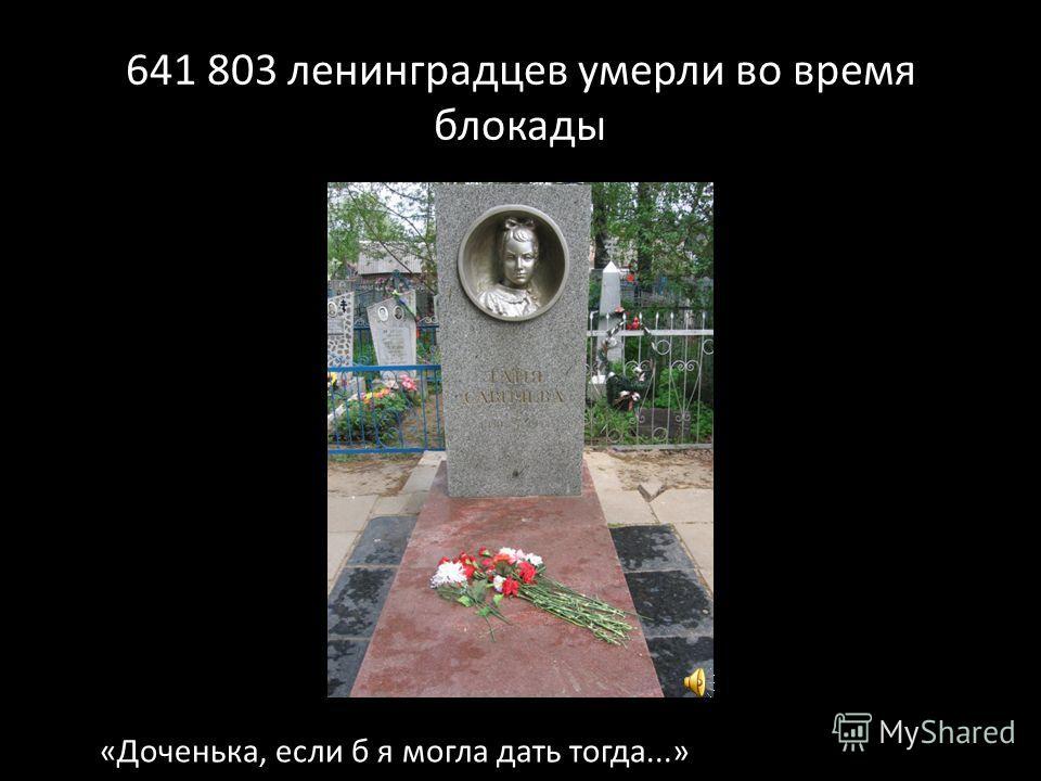 641 803 ленинградцев умерли во время блокады «Доченька, если б я могла дать тогда...»