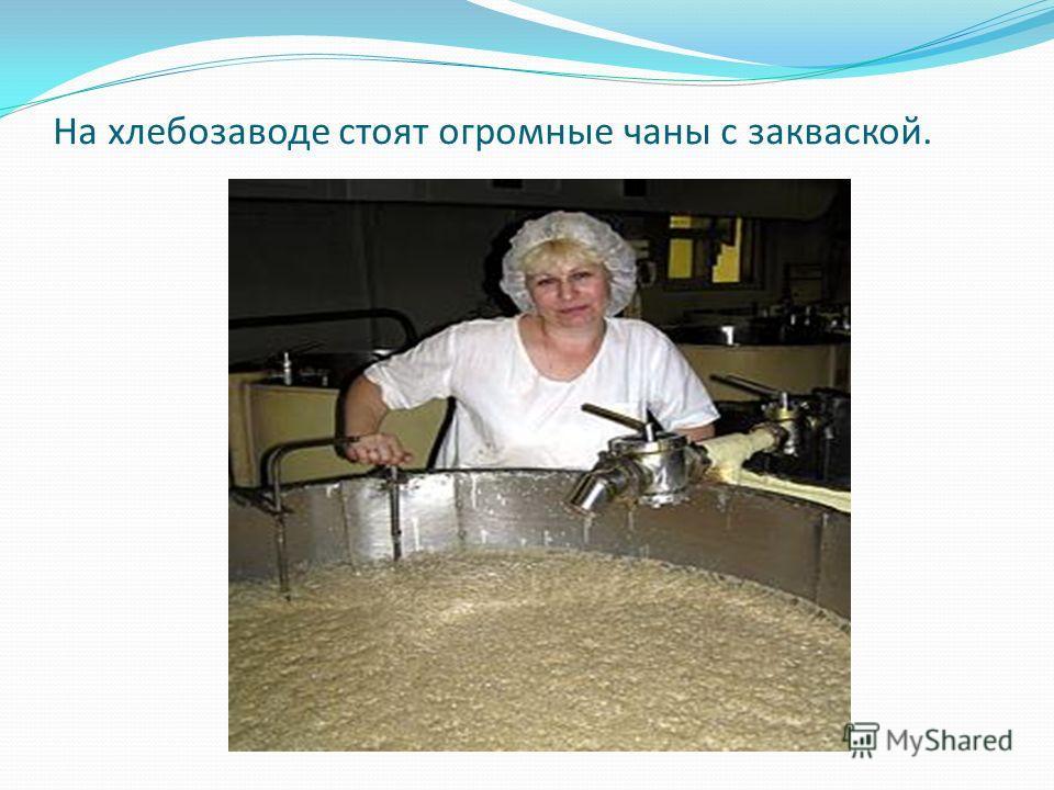 На хлебозаводе стоят огромные чаны с закваской.