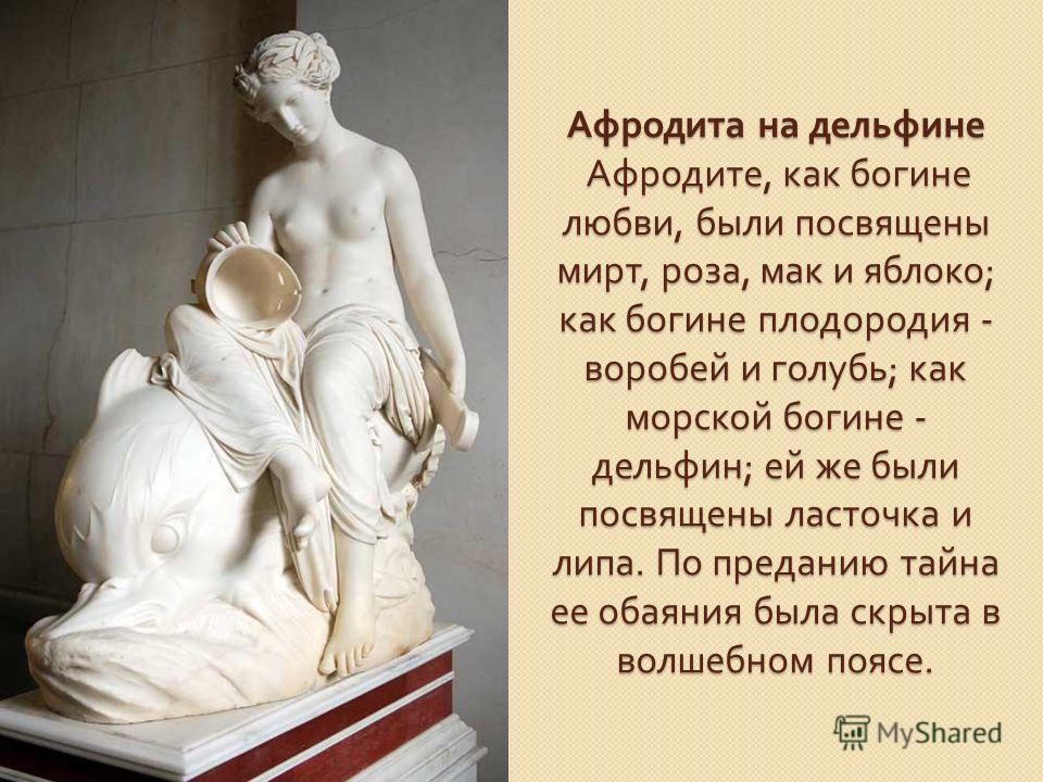 Афродита на дельфине Афродите, как богине любви, были посвящены мирт, роза, мак и яблоко ; как богине плодородия - воробей и голубь ; как морской богине - дельфин ; ей же были посвящены ласточка и липа. По преданию тайна ее обаяния была скрыта в волш