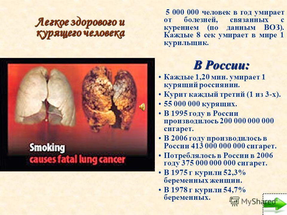 Легкое здорового и курящего человека 5 000 000 человек в год умирает от болезней, связанных с курением (по данным ВОЗ). Каждые 8 сек умирает в мире 1 курильщик. В России: Каждые 1,20 мин. умирает 1 курящий россиянин. Курит каждый третий (1 из 3-х). 5