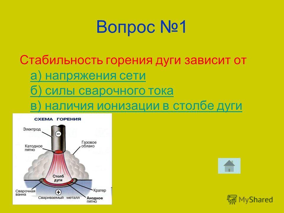 Вопрос 1 Стабильность горения дуги зависит от а) напряжения сети б) силы сварочного тока в) наличия ионизации в столбе дуги а) напряжения сети б) силы сварочного тока в) наличия ионизации в столбе дуги