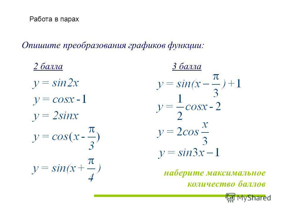Опишите преобразования графиков функции: 2 балла3 балла наберите максимальное количество баллов Работа в парах