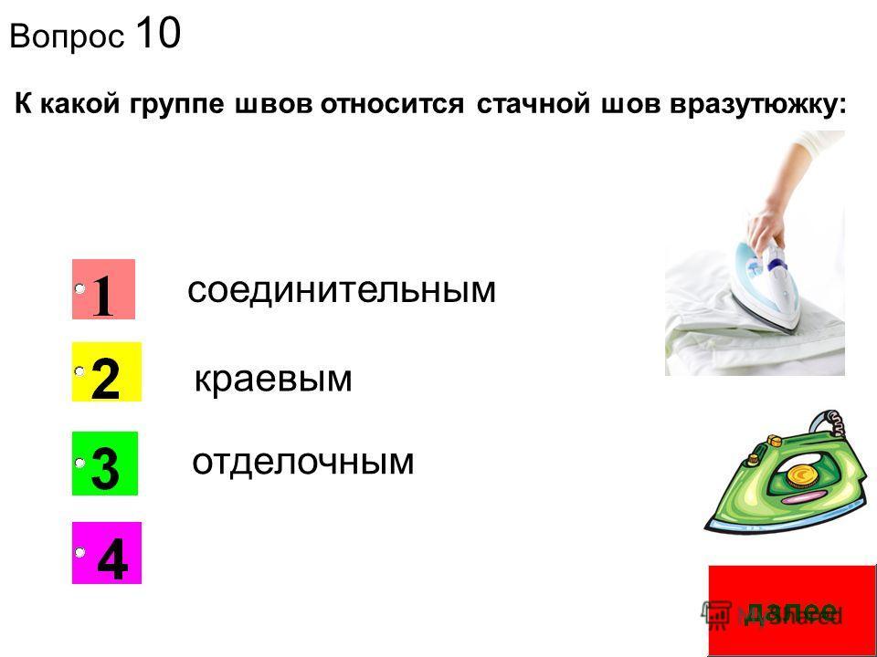 Вопрос 10 1 К какой группе швов относится стачной шов вразутюжку: краевым соединительным отделочным