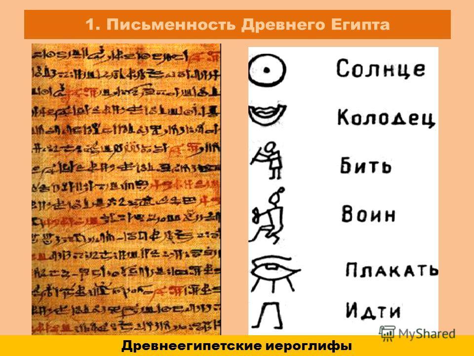 1. Письменность Древнего Египта Древнеегипетские иероглифы