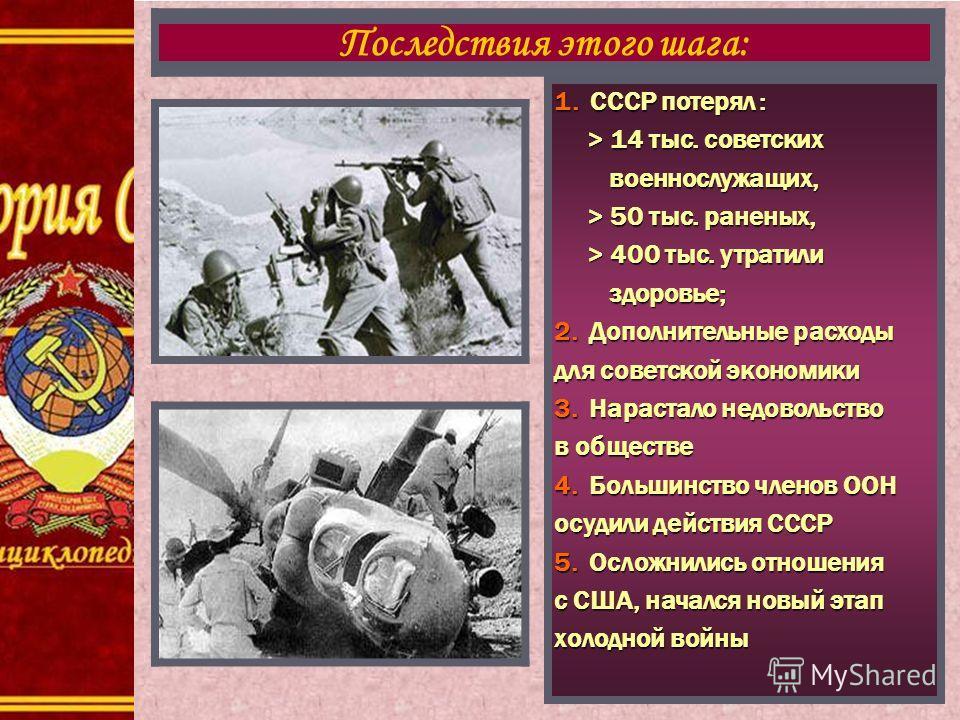 1. СССР потерял : > 14 тыс. советских > 14 тыс. советских военнослужащих, военнослужащих, > 50 тыс. раненых, > 50 тыс. раненых, > 400 тыс. утратили > 400 тыс. утратили здоровье; здоровье; 2. Дополнительные расходы для советской экономики 3. Нарастало