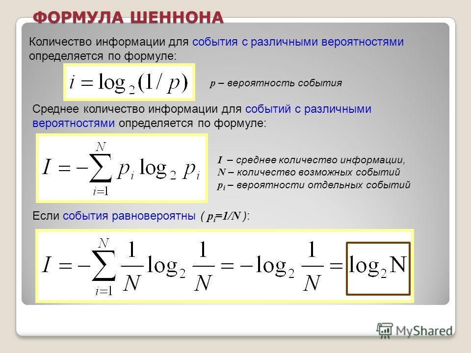 ФОРМУЛА ШЕННОНА Среднее количество информации для событий с различными вероятностями определяется по формуле: Если события равновероятны ( p i =1/N ): I – среднее количество информации, N – количество возможных событий p i – вероятности отдельных соб