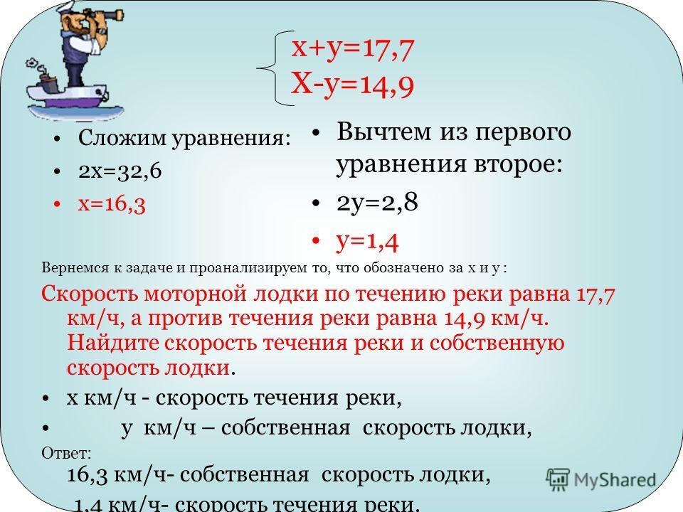 x+y=17,7 X-y=14,9 Сложим уравнения: 2х=32,6 х=16,3 Вернемся к задаче и проанализируем то, что обозначено за x и y : Скорость моторной лодки по течению реки равна 17,7 км/ч, а против течения реки равна 14,9 км/ч. Найдите скорость течения реки и собств