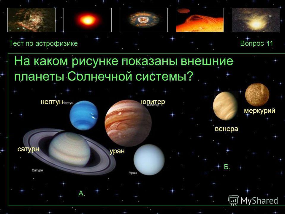 Тест по астрофизикеВопрос 11 А. Б. На каком рисунке показаны внешние планеты Солнечной системы? меркурий венера юпитер уран нептун сатурн