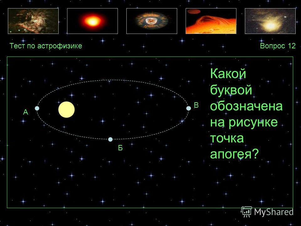 Тест по астрофизикеВопрос 12 А Б В Какой буквой обозначена на рисунке точка апогея?