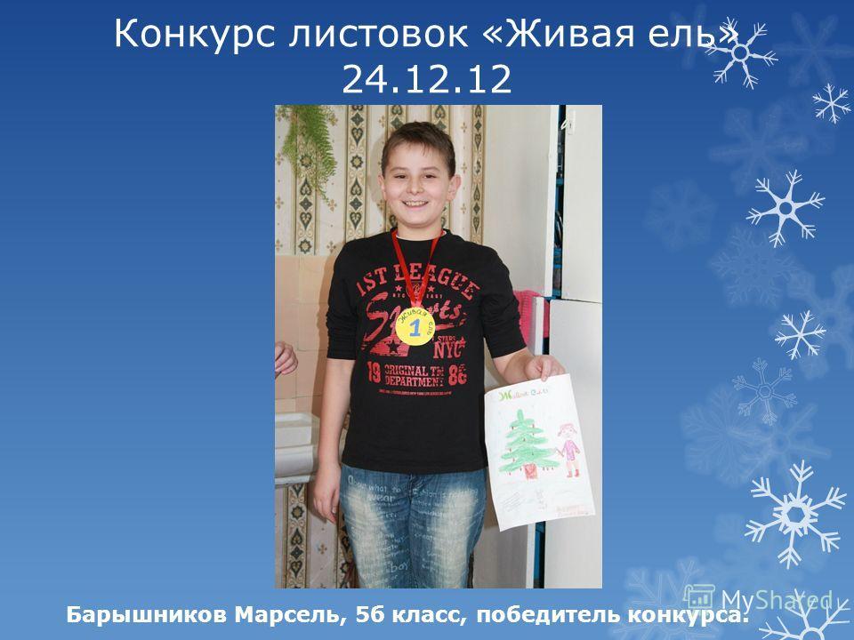 Конкурс листовок «Живая ель» 24.12.12 Барышников Марсель, 5б класс, победитель конкурса.