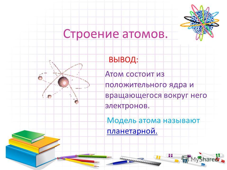 Строение атомов. Атом состоит из положительного ядра и вращающегося вокруг него электронов. ВЫВОД: Модель атома называют планетарной.