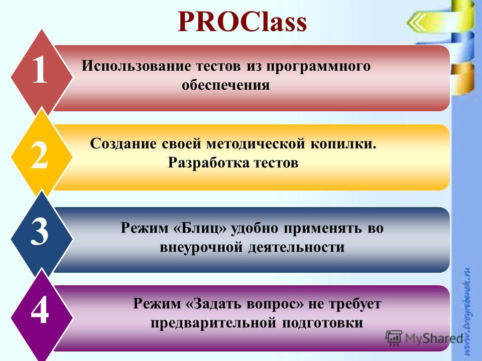 www.themegallery.com PROClass Использование тестов из программного обеспечения 1 Создание своей методической копилки. Разработка тестов 2 3 Режим «Блиц» удобно применять во внеурочной деятельности 4 Режим «Задать вопрос» не требует предварительной по