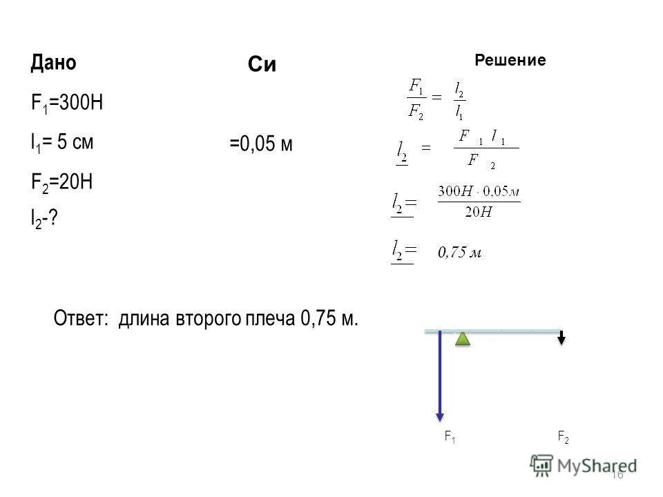 16 Дано F 1 =300Н l 1 = 5 см F 2 =20Н Си =0,05 м Решение l 2 -? 0,75 м Ответ: длина второго плеча 0,75 м. F 1 F 2