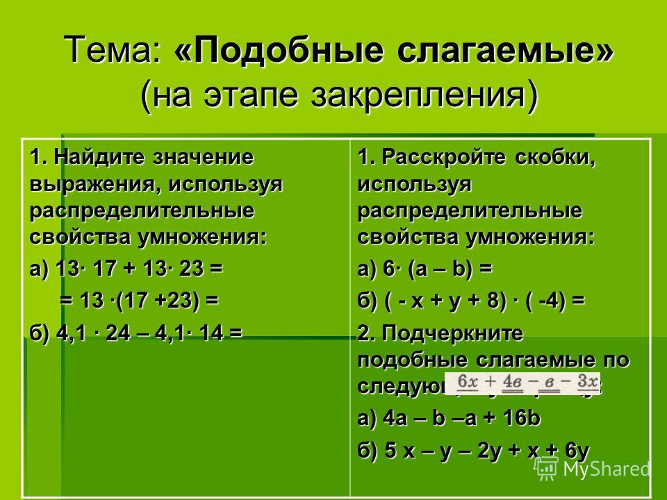 Тема: «Подобные слагаемые» (на этапе закрепления) 1. Найдите значение выражения, используя распределительные свойства умножения: а) 13 17 + 13 23 = = 13 (17 +23) = = 13 (17 +23) = б) 4,1 24 – 4,1 14 = 1. Расскройте скобки, используя распределительные
