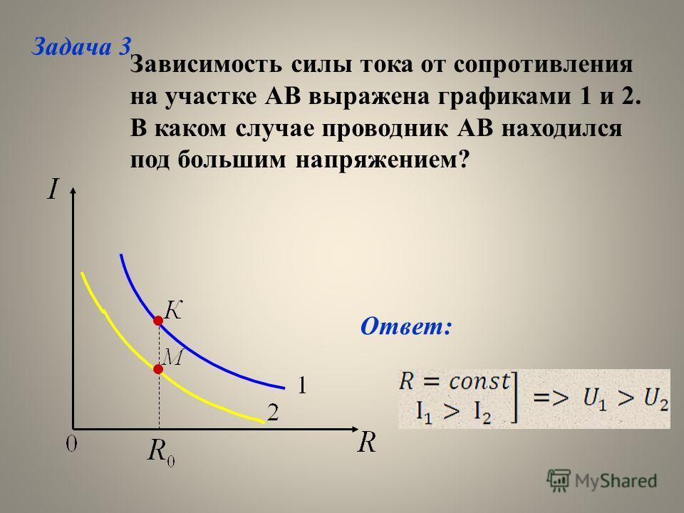 Зависимость силы тока от сопротивления на участке АВ выражена графиками 1 и 2. В каком случае проводник АВ находился под большим напряжением? Ответ: Задача 3