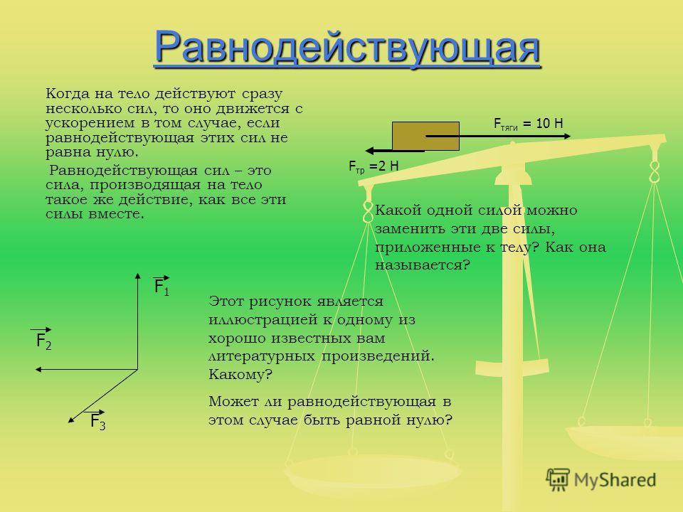 Равнодействующая Когда на тело действуют сразу несколько сил, то оно движется с ускорением в том случае, если равнодействующая этих сил не равна нулю. Равнодействующая сил – это сила, производящая на тело такое же действие, как все эти силы вместе. F