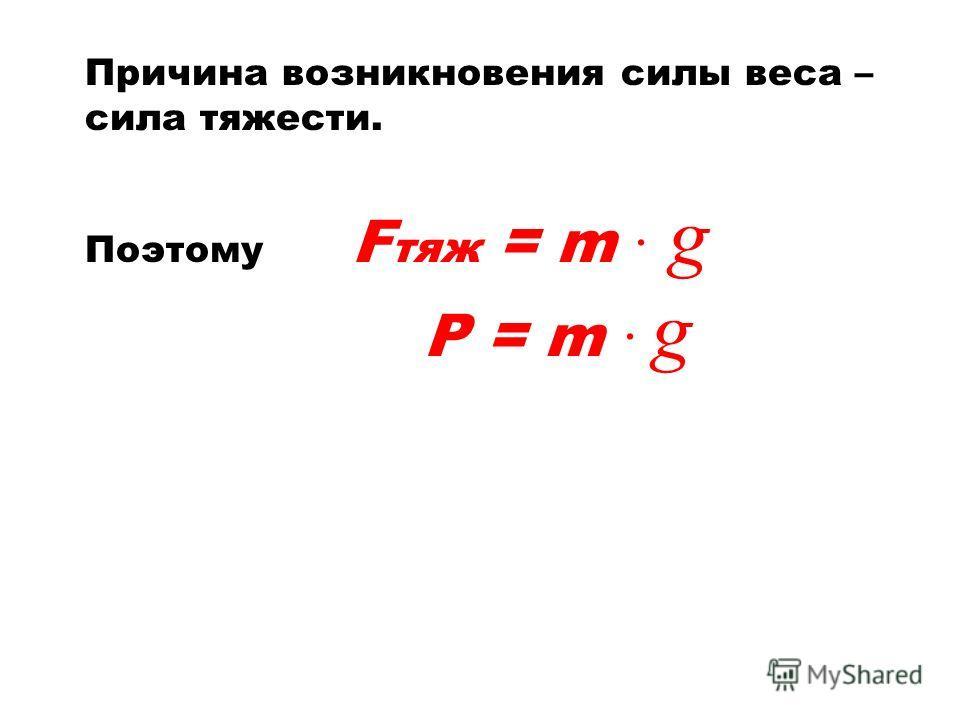 Причина возникновения силы веса – сила тяжести. Поэтому F тяж = m g Р = m g