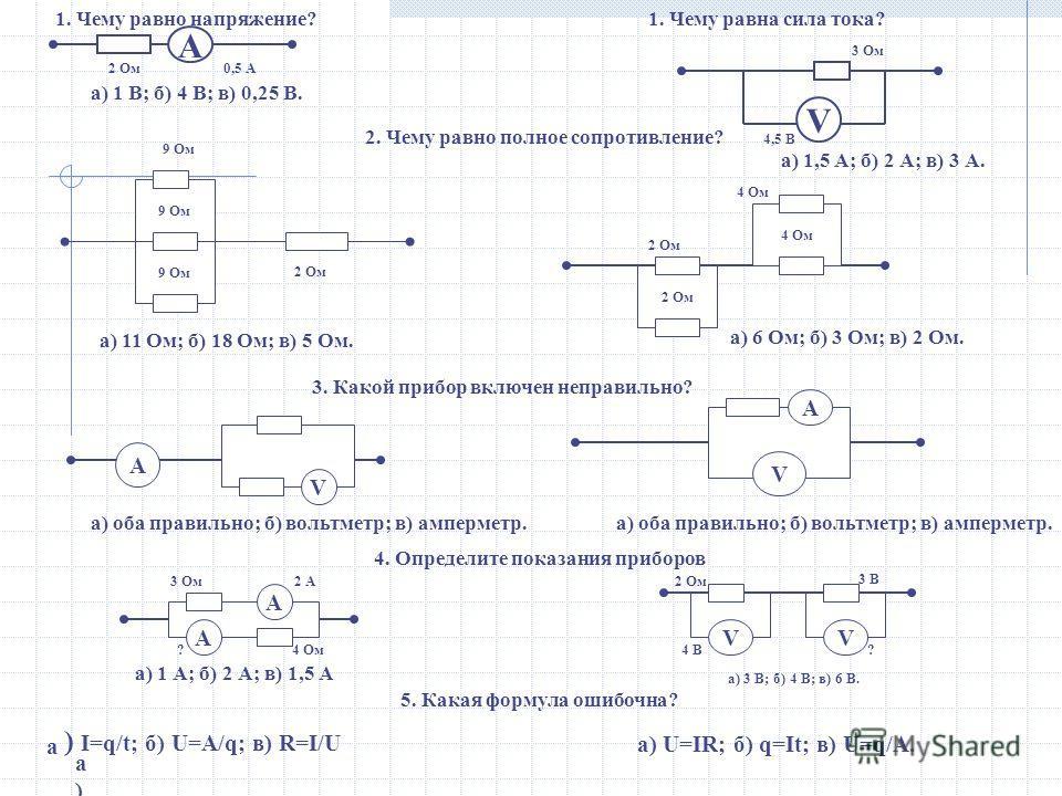 2 Ом0,5 А V 3 Ом 4,5 В а) 1 В; б) 4 В; в) 0,25 В. а) 1,5 А; б) 2 А; в) 3 А. 1. Чему равно напряжение?1. Чему равна сила тока? А 2. Чему равно полное сопротивление? 9 Ом 2 Ом а) 11 Ом; б) 18 Ом; в) 5 Ом. 2 Ом 4 Ом 2 Ом 4 Ом а) 6 Ом; б) 3 Ом; в) 2 Ом.