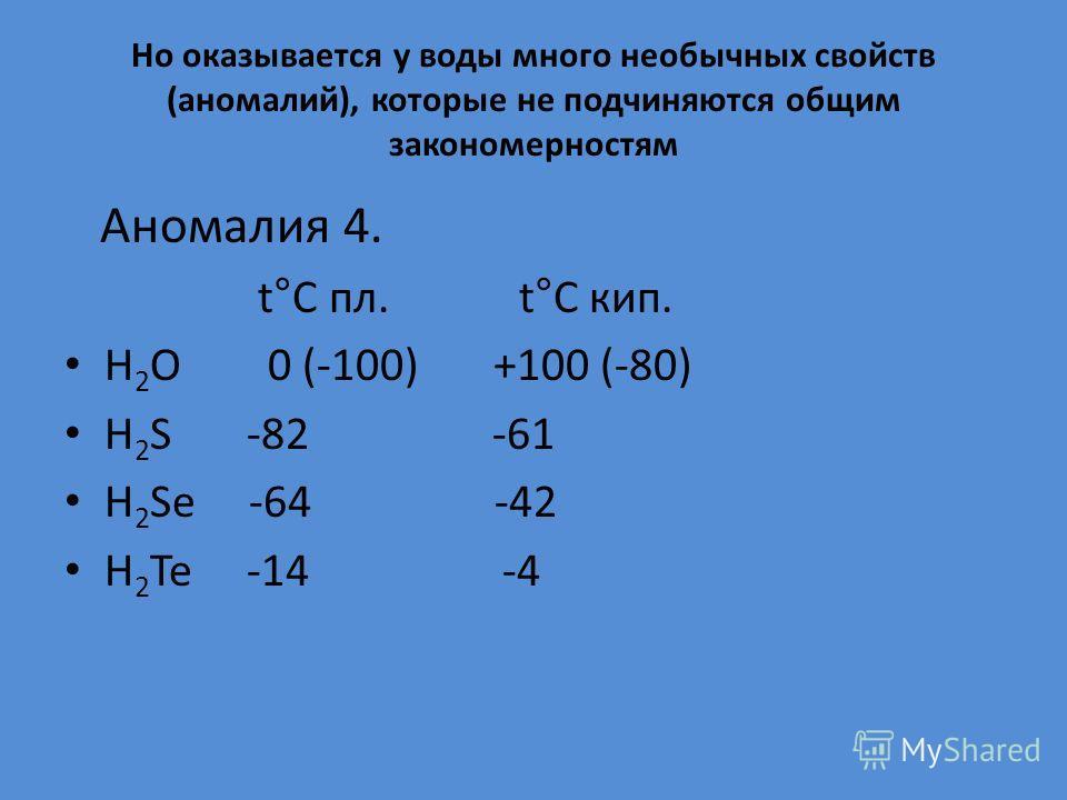 Но оказывается у воды много необычных свойств (аномалий), которые не подчиняются общим закономерностям Аномалия 4. t°C пл. t°C кип. Н 2 О 0 (-100) +100 (-80) Н 2 S -82 -61 Н 2 Se -64 -42 H 2 Те -14 -4