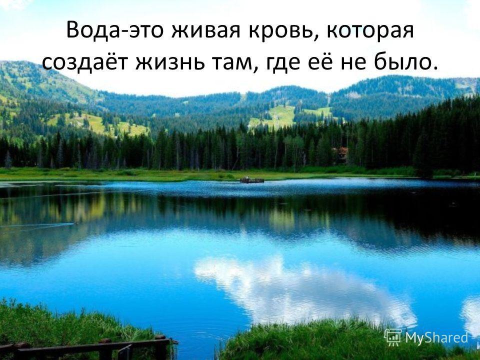 Вода-это живая кровь, которая создаёт жизнь там, где её не было.