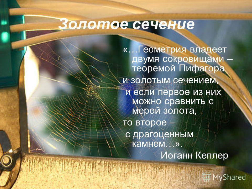 Золотое сечение «…Геометрия владеет двумя сокровищами – теоремой Пифагора и золотым сечением, и если первое из них можно сравнить с мерой золота, то второе – с драгоценным камнем…». Иоганн Кеплер