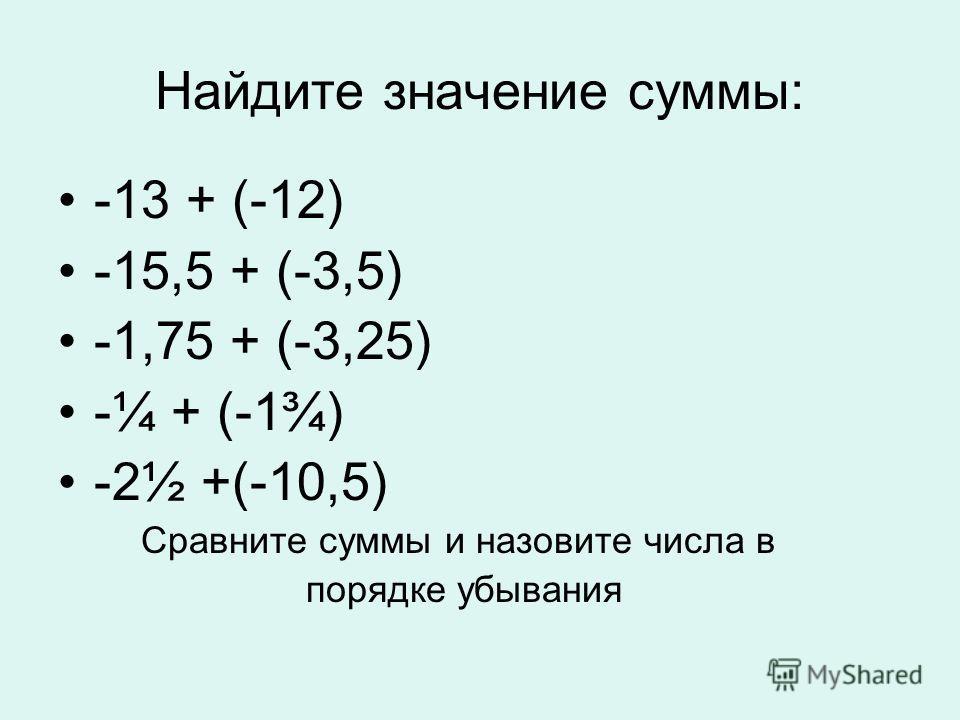 Найдите значение суммы: -13 + (-12) -15,5 + (-3,5) -1,75 + (-3,25) -¼ + (-1¾) -2½ +(-10,5) Сравните суммы и назовите числа в порядке убывания