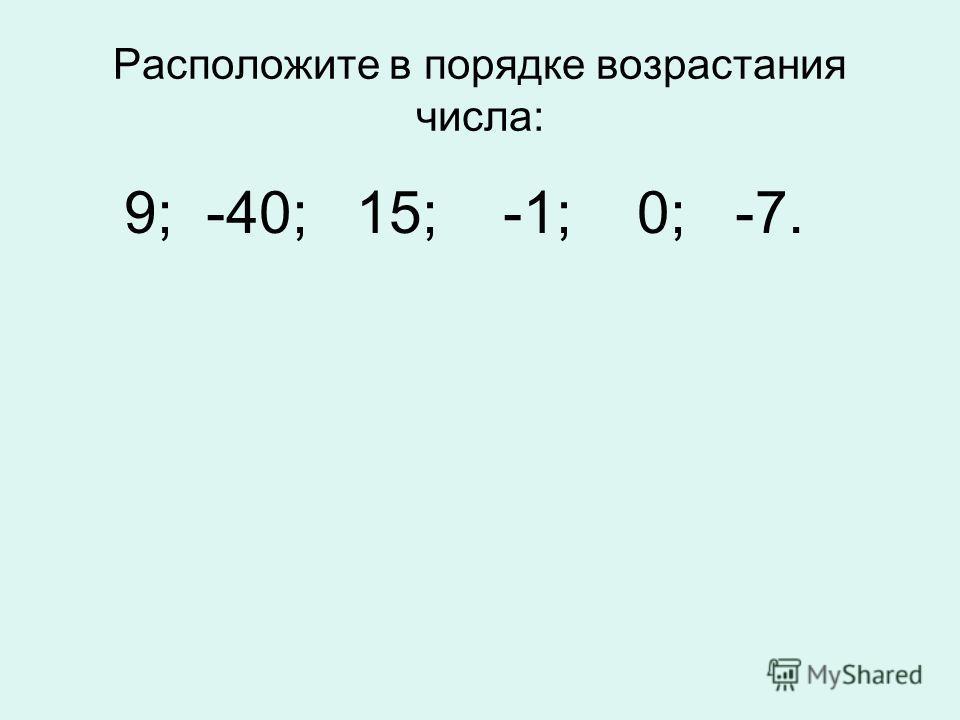 Расположите в порядке возрастания числа: 9; -40; 15; -1; 0; -7.