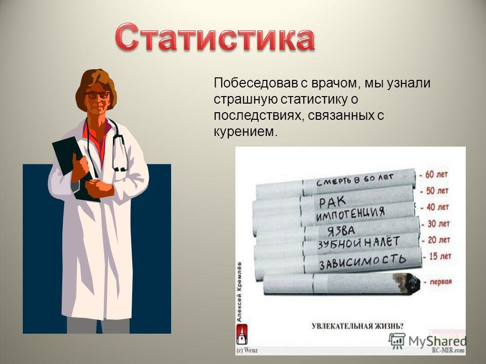 Побеседовав с врачом, мы узнали страшную статистику о последствиях, связанных с курением.