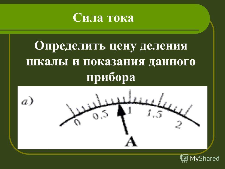 Сила тока Определить цену деления шкалы и показания данного прибора