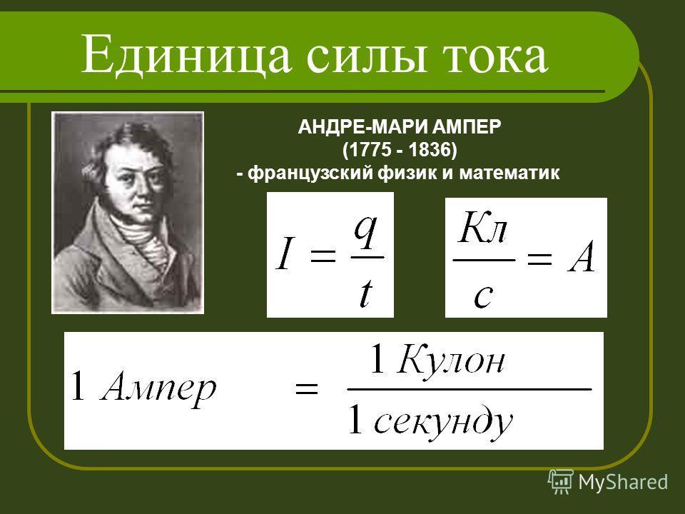 Единица силы тока АНДРЕ-МАРИ АМПЕР (1775 - 1836) - французский физик и математик