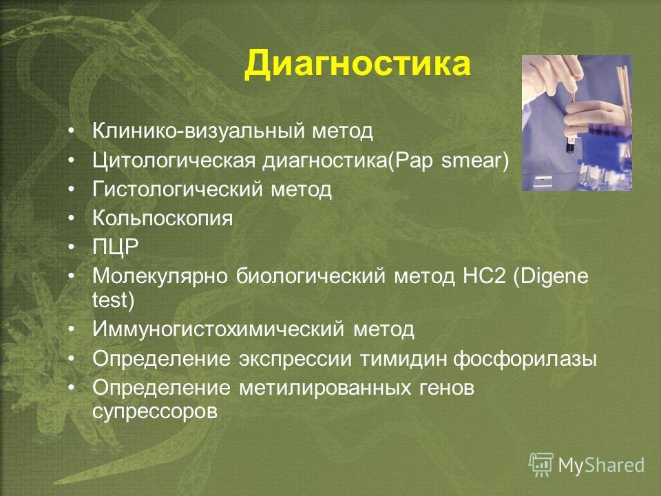 Диагностика Клинико-визуальный метод Цитологическая диагностика(Pap smear) Гистологический метод Кольпоскопия ПЦР Молекулярно биологический метод HC2 (Digene test) Иммуногистохимический метод Определение экспрессии тимидин фосфорилазы Определение мет