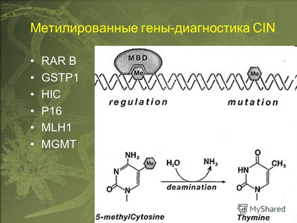 Метилированные гены-диагностика CIN RAR B GSTP1 HIC P16 MLH1 MGMT