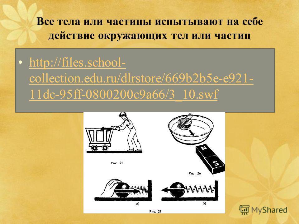 Все тела или частицы испытывают на себе действие окружающих тел или частиц http://files.school- collection.edu.ru/dlrstore/669b2b5e-e921- 11dc-95ff-0800200c9a66/3_10.swfhttp://files.school- collection.edu.ru/dlrstore/669b2b5e-e921- 11dc-95ff-0800200c