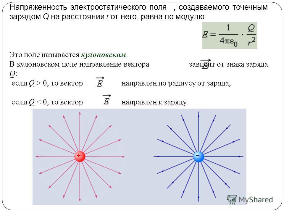 Напряженность электростатического поля, создаваемого точечным зарядом Q на расстоянии r от него, равна по модулю Это поле называется кулоновским. В кулоновском поле направление вектора зависит от знака заряда Q: если Q > 0, то вектор направлен по рад