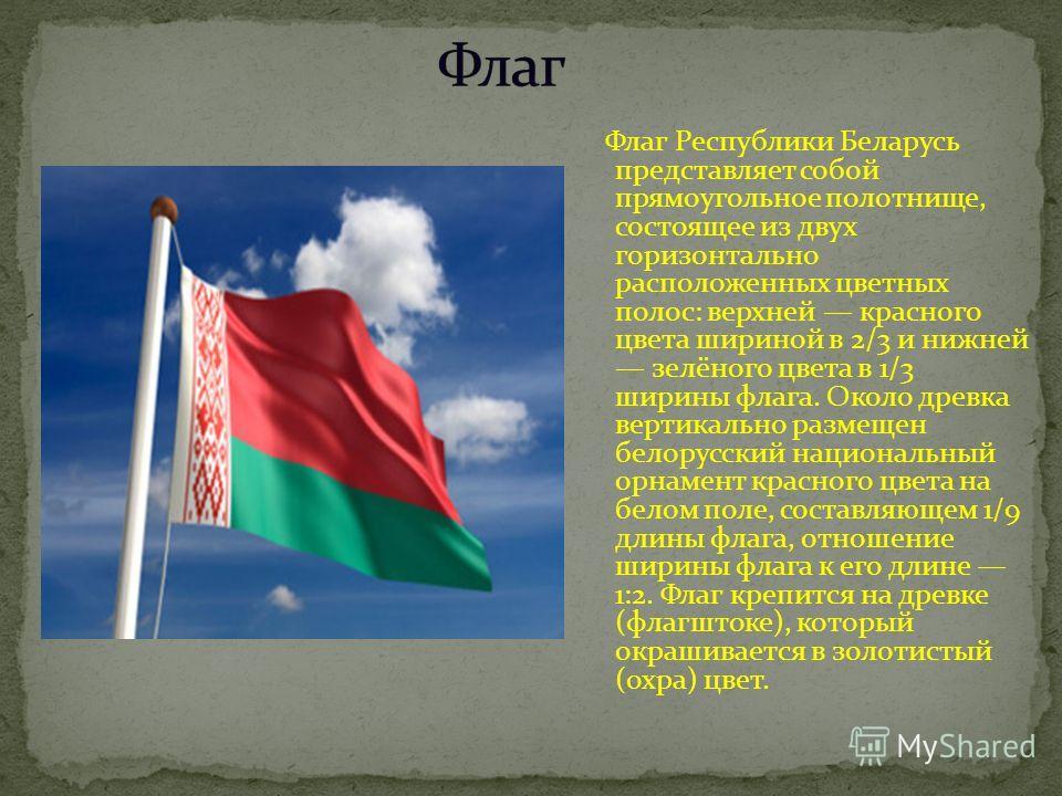 Флаг Республики Беларусь представляет собой прямоугольное полотнище, состоящее из двух горизонтально расположенных цветных полос: верхней красного цвета шириной в 2/3 и нижней зелёного цвета в 1/3 ширины флага. Около древка вертикально размещен белор