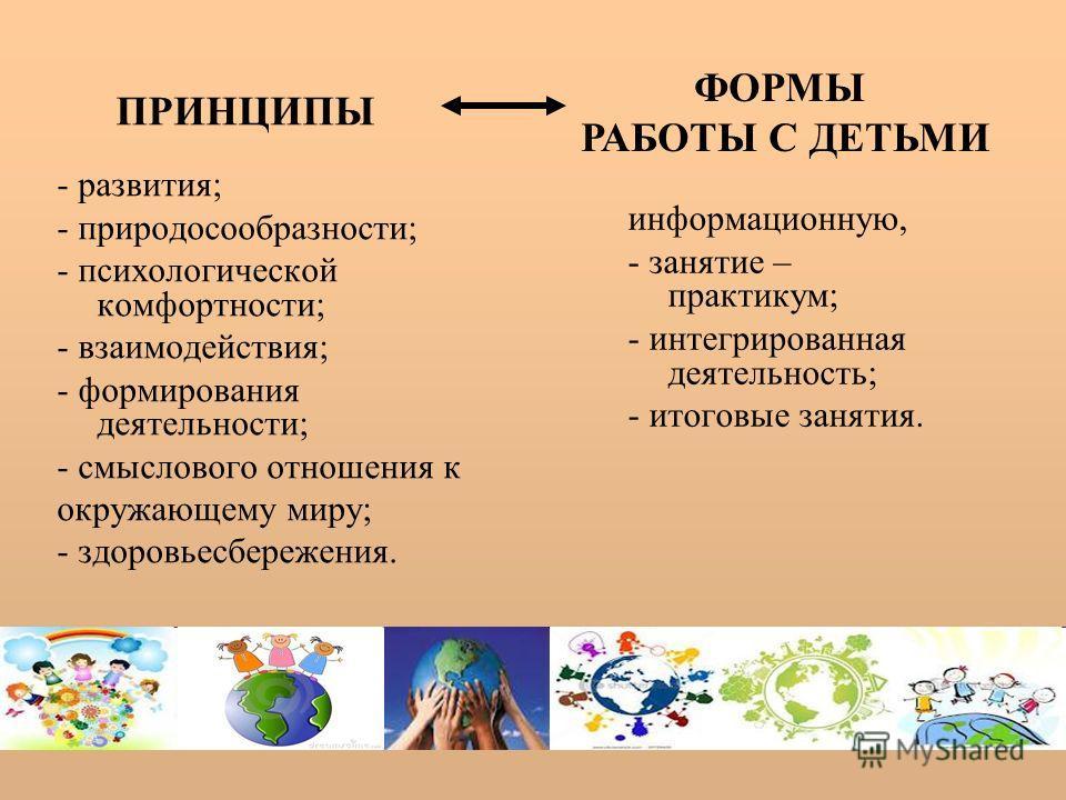 - развития; - природосообразности; - психологической комфортности; - взаимодействия; - формирования деятельности; - смыслового отношения к окружающему миру; - здоровьесбережения. информационную, - занятие – практикум; - интегрированная деятельность;