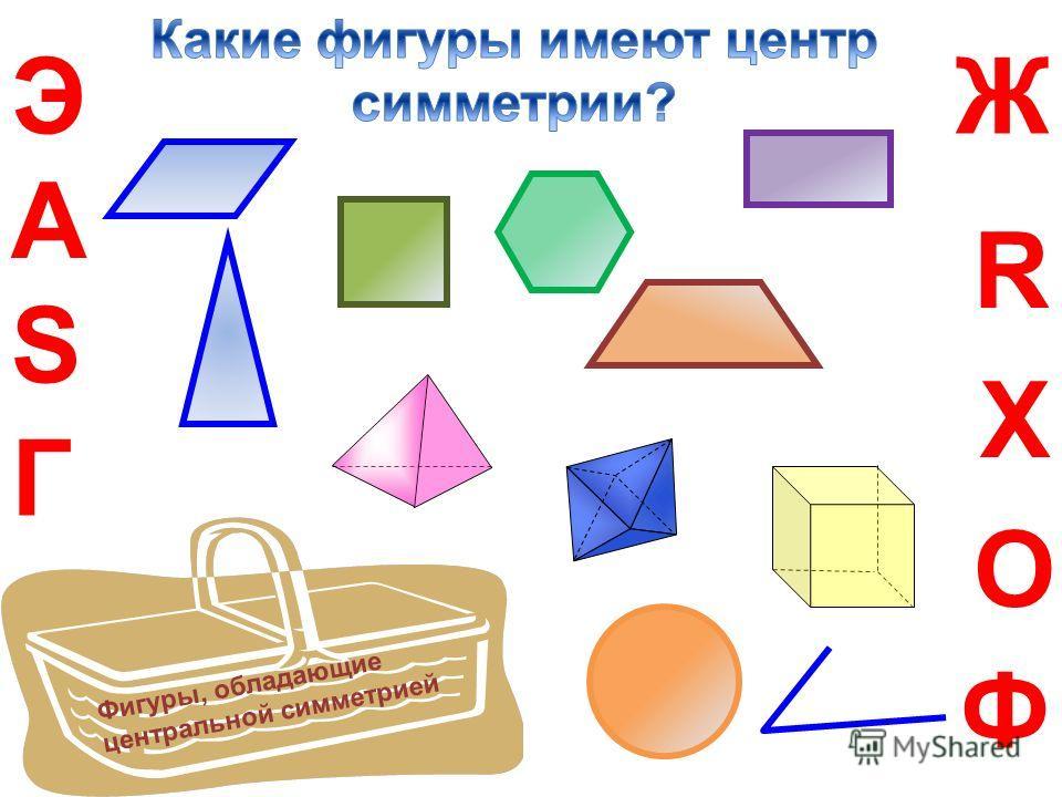 R А Г ЭЖ О S Х Ф Фигуры, обладающие центральной симметрией