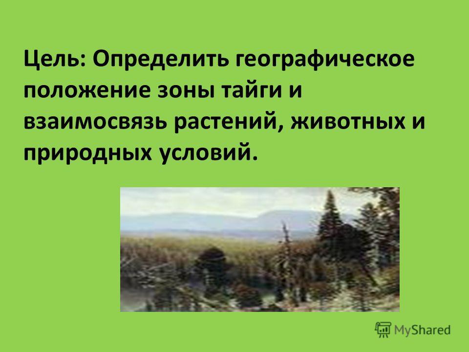 Цель: Определить географическое положение зоны тайги и взаимосвязь растений, животных и природных условий.
