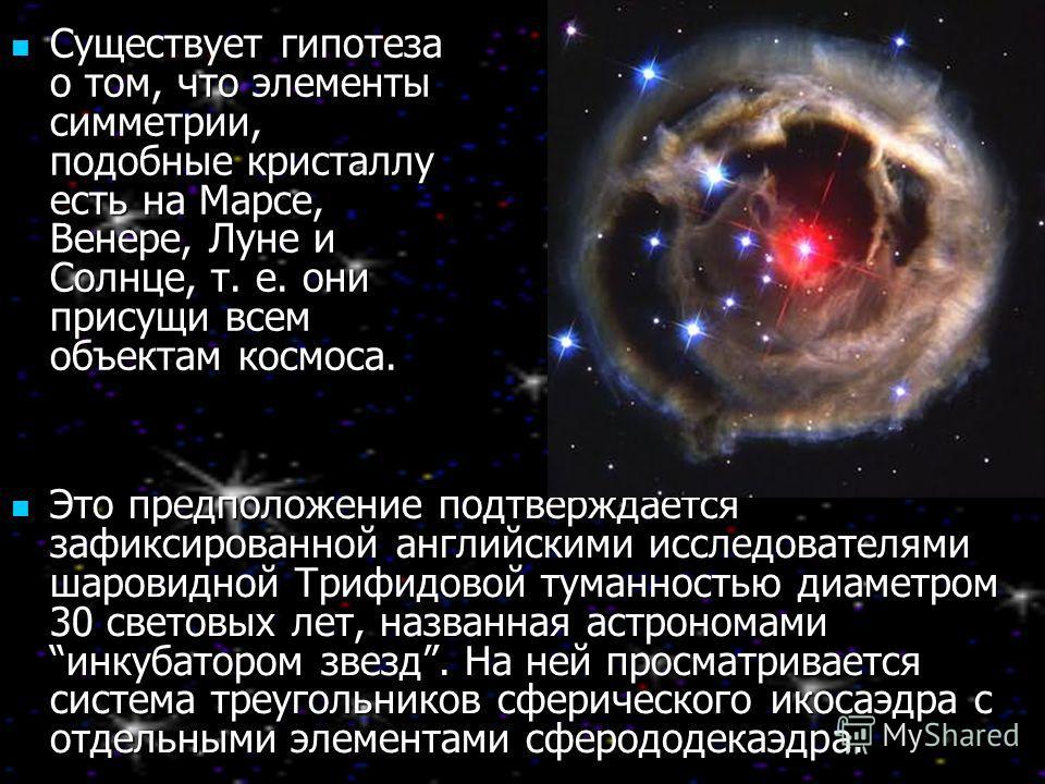 Существует гипотеза о том, что элементы симметрии, подобные кристаллу есть на Марсе, Венере, Луне и Солнце, т. е. они присущи всем объектам космоса. Существует гипотеза о том, что элементы симметрии, подобные кристаллу есть на Марсе, Венере, Луне и С