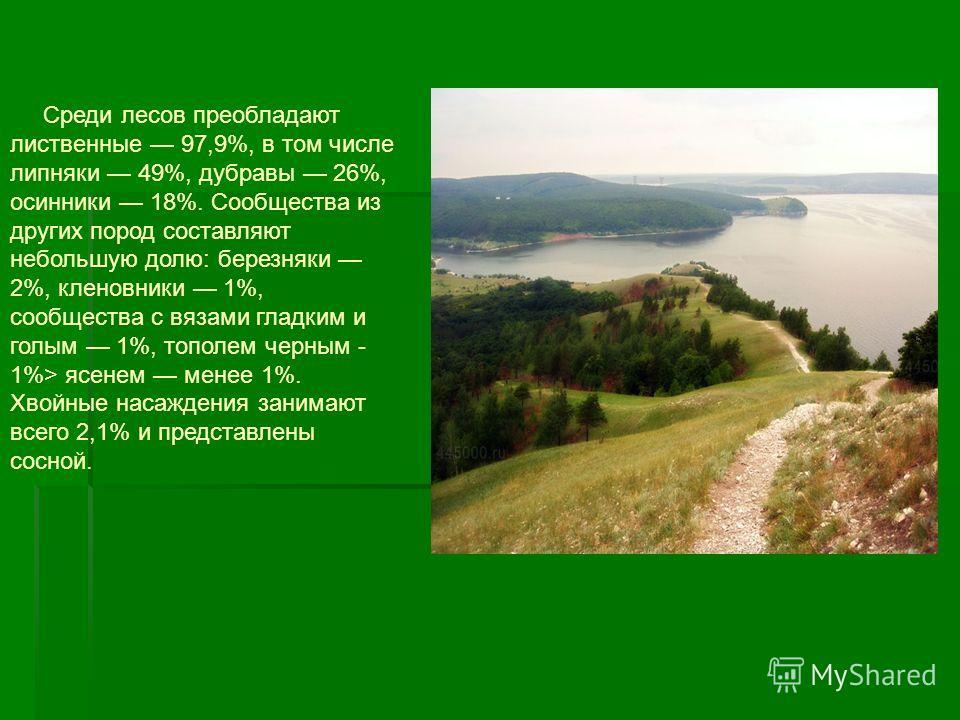 На территории заповедника выделяются следующие растительные формации: восточно-европейские лесостепные и степные сосновые леса, восточно-европейские широколиственные леса, степи и сельхозугодья на их месте, растительность пойм. Здесь встречаются боре